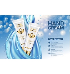 Hand cream white gold tube on blue drop blurred vector