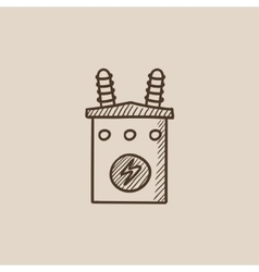 High voltage transformer sketch icon vector