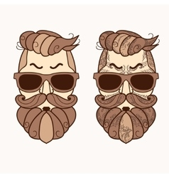Hipster character with beard hair and glasses vector
