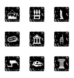 Historical museum icons set grunge style vector