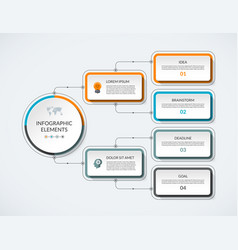 Infographic flow chart with 4 options vector
