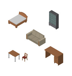 Isometric furniture set of bedstead table vector