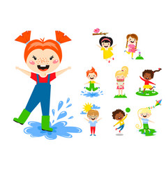 kids play enjoy spring arrival warm summer little vector image vector image