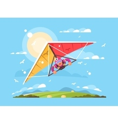 Man on a hang glider vector