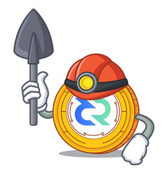 Miner decred coin mascot cartoon vector