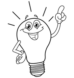outlined cartoon light bulb vector image vector image