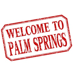 Palm Springs - welcome red vintage isolated label vector image