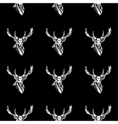 Pattern deer head icon repeated seamless hand vector