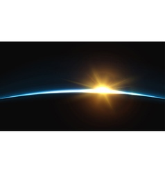Planet earth sunrise globe horizon atmosphere vector