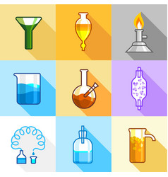 Science equipment icons set flat style vector