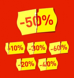 set of discount stickers vector image vector image