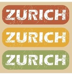 Vintage zurich stamp set vector