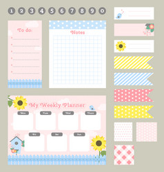 Weekly planner template organizer and schedule vector