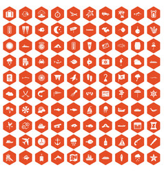 100 marine environment icons hexagon orange vector