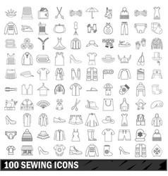100 sewing icons set outline style vector