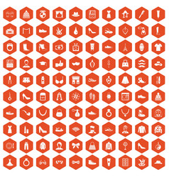 100 vogue icons hexagon orange vector