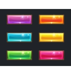 Set of cartoon long crystal horizontal buttons vector