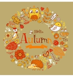 Hello Autumn banner in doodle style vector image