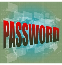 The word password on digital screen business vector