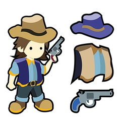 Cute cartoon cowboy with costumes vector image