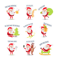 Santa claus routine collection of vector
