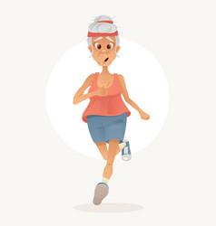 Old sporty happy grandma character run vector