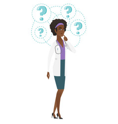 thinking doctor with question marks vector image