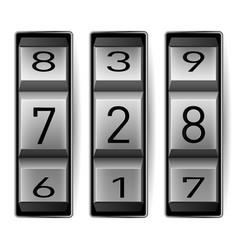 Metallic combination lock with three number vector