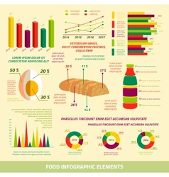 Food infographics flat design elements vector