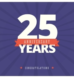 25 year anniversary card poster template vector