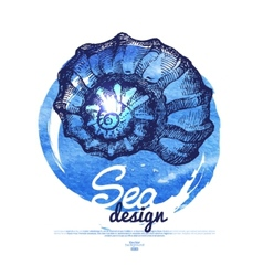Seashell banner Sea nautical design vector image