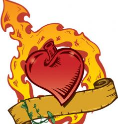 Flaming heart tattoo vector