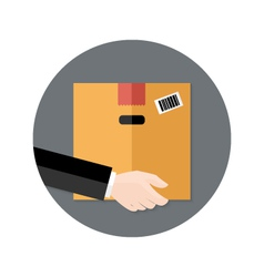 Delivery flat circle icon hand holding package vector