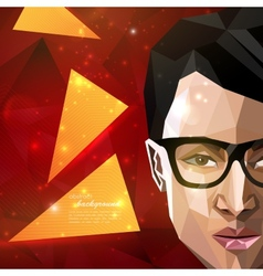 With an asian man face in polygonal style modern vector