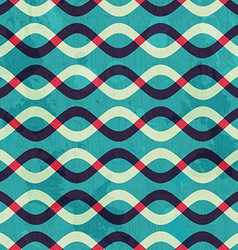 Retro curve seamless pattern with grunge effect vector