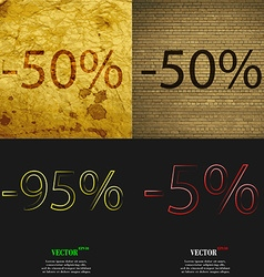 50 95 5 icon set of percent discount on abstract vector