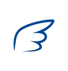Blue contour wing icon simple style vector