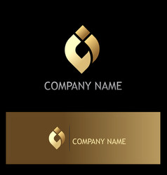 abstract ovale shape gold logo vector image
