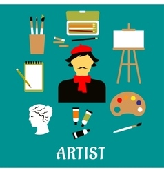Artist or craftsman with art icons vector image
