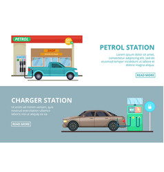 car charging electricity and petrol gas station vector image vector image
