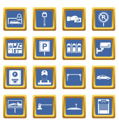 Car parking icons set blue vector