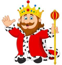 Cartoon king holding a golden scepter vector