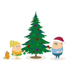 Children and Christmas fir tree vector image