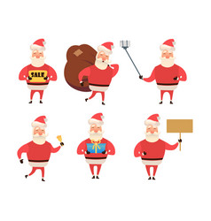 collection of christmas santa claus cartoon and vector image