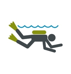 Diving icon flat vector