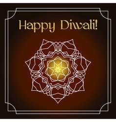 Diwali festival greeting card with gold glitter vector