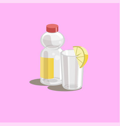 Drink icon bottle and glass vector