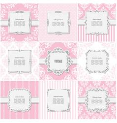 Elegant frame set on different patterns in pastel vector