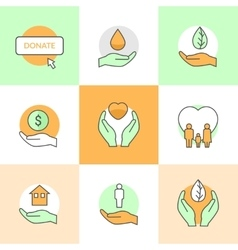 Flat icons set with charity and donation theme vector