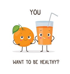 Funny characters glass of orange juice and orange vector image
